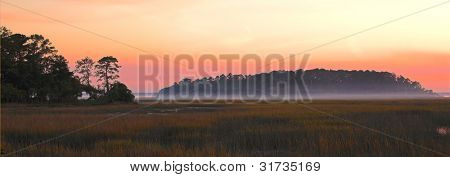 panorama of island and estuary at dawn