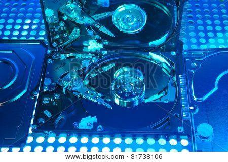 harddisk isolated on with fiber optical background