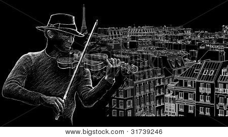 illustration of a violinist on a background of roofs in Paris