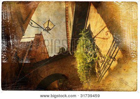 views of Siena in vintage style