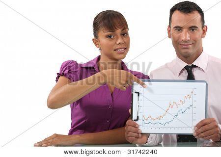 Pareja de negocios apuntando a gráfico