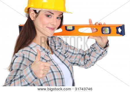 carpenter with spirit level