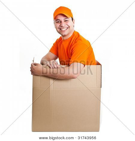 Happy deliverer inside a box
