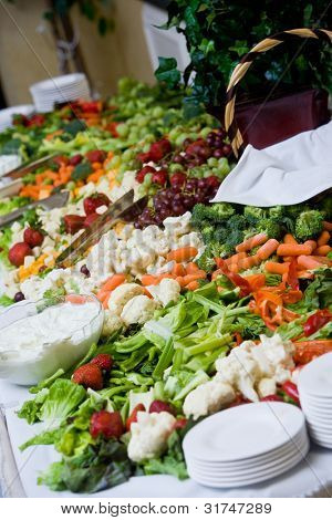a huge selection of vegetables at a catered banquet or other event