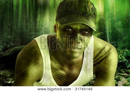 Stylized fantasy portrait of a cool army hero guy with face paint and camo hat in dark mysterious jungle war setting