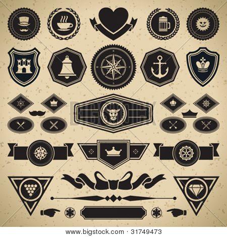 Vintage style retro emblem label collection. Vector design elements.