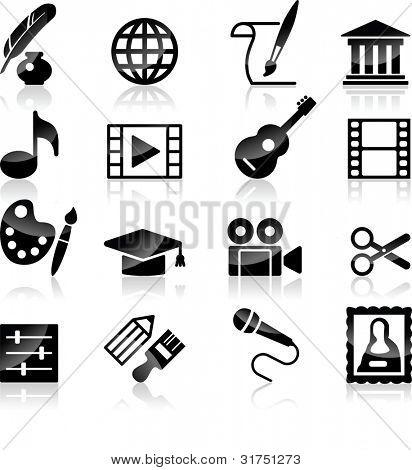 Vector Art Culture and creativity black & white set