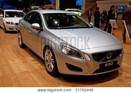 GENEVA - MARCH 8: The Volvo S60 on display at the 81st International Motor Show Palexpo-Geneva on March 8; 2011  in Geneva, Switzerland.