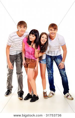 Group of casual young people isolated over white background.