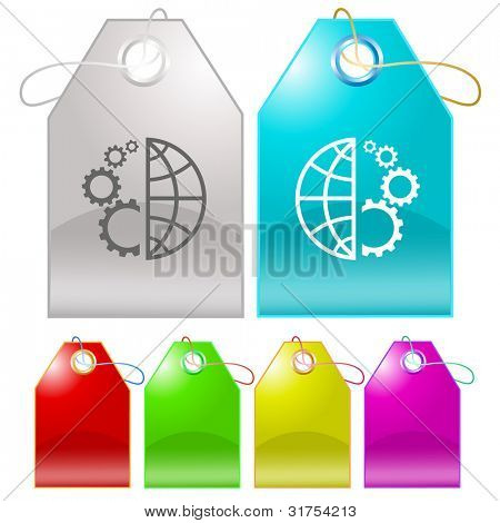 Globe and gear. Raster tags. Vector version is in my portfolio.