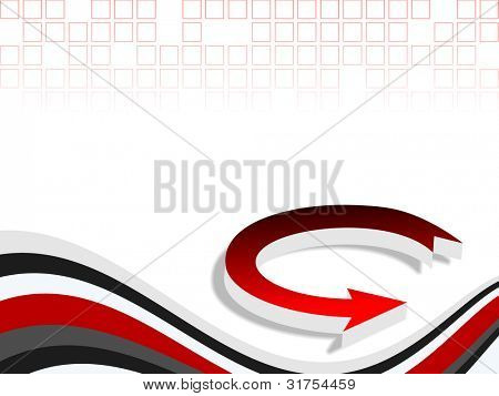 Professional corporate background or business template for financial presentations showing 3D arrow on abstract wave background in red color. EPS 10.