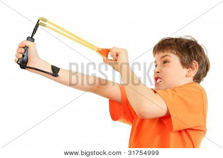 Concentrated boy with slingshot aim isolated on white background
