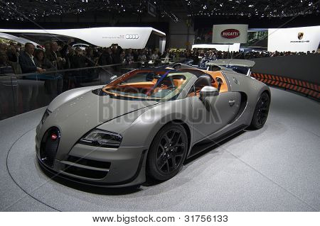 GENEVA SWITZERLAND - MARCH 12: The Bugatti Stand displaying a full view of the Veyron convertible in MATT Gunmetal grey, at the Geneva Motorshow on March 12th, 2012 in Geneva, Switzerland.
