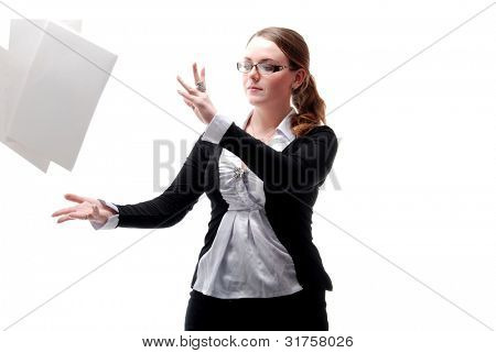 Office Girl With Flying Papers