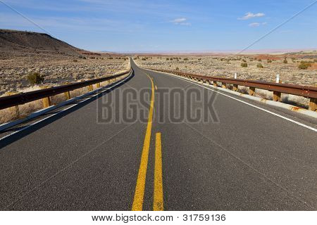 Lonely desert highway in rural Arizona