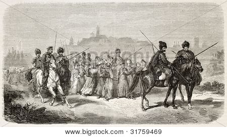 Polish recruits leaving Warsaw (January insurrection). Created by Worms, published on L'Illustration, Journal Universel, Paris, 1863