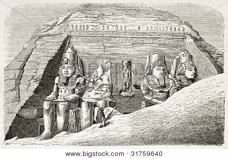 Abu Simbel Temple of Ramesses II old illustration. Created by Ramee, published on L'illustration, Journal Universel, Paris, 1863