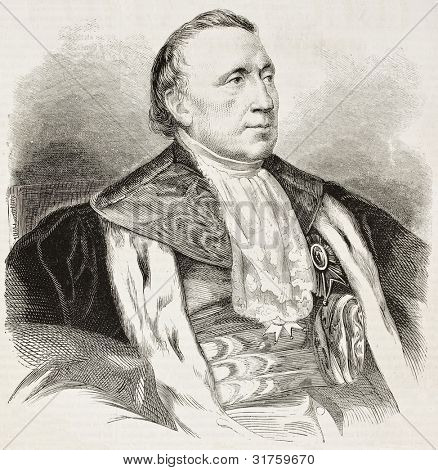 Felix Barthe old engraved portrait (French statesman and politician). Created by Chenu after Hesse, published on L'Illustration, Journal Universel, Paris, 1863