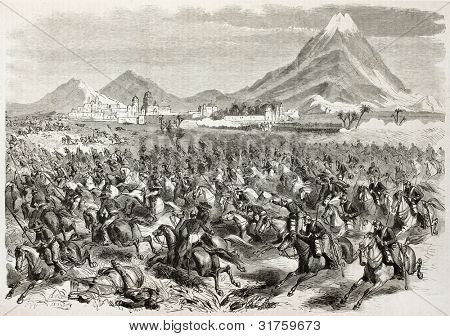 French intervention in Mexico: General Alvares cavalry defeat in San-Andres. Created by Godefroy-Durand published on L'illustration, Journal Universel, Paris, 1863