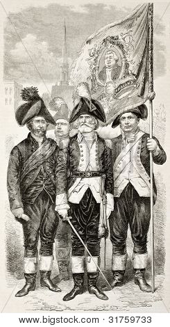 Putnam Phalanx old illustration (from the left: Chaplain, Major Commandant and Color Sergent). Created by Worms after Wattemare, published on L'Illustration, Journal Universel, Paris, 1863