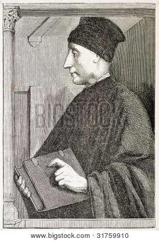Vittorino da Feltre old engraved portrait (Italian humanist). Created by Chazal after Melozzo da Forli', published on L'Illustration, Journal Universel, Paris, 1863