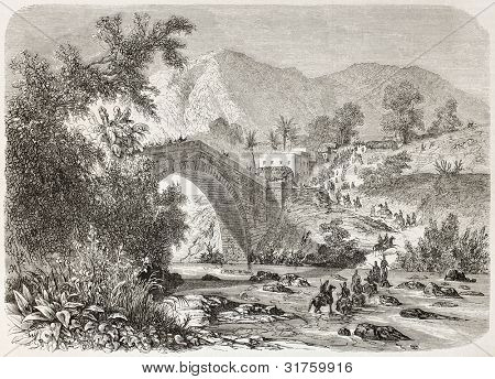French intervention in Mexico: Brigade Berthier arrival in Plan del Rio. Created by Blanchard, published on L'illustration, Journal Universel, Paris, 1863