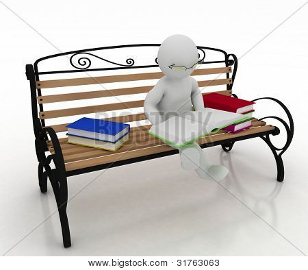 man spectacled sits on a bench and reads a book. 3d illustration on a white background.