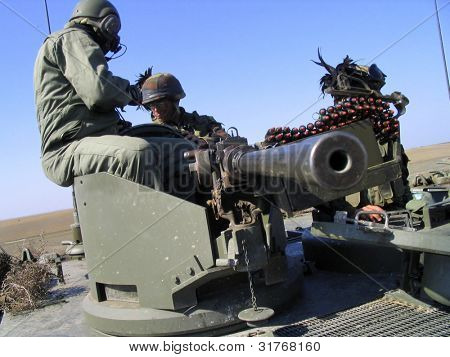 Soldiers on tank. Army