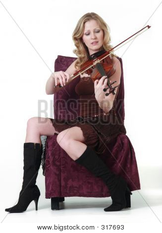 Sexy Woman Playing The Violin