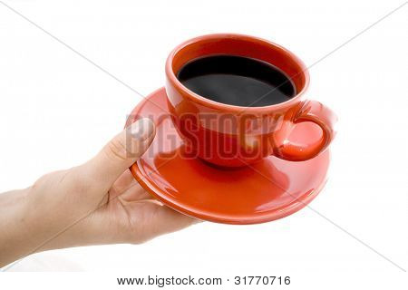 Woman hand with white cup. Isolated on white.