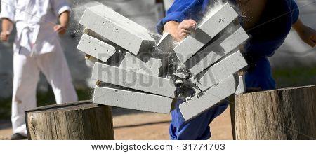 karate man breaking bricks outside