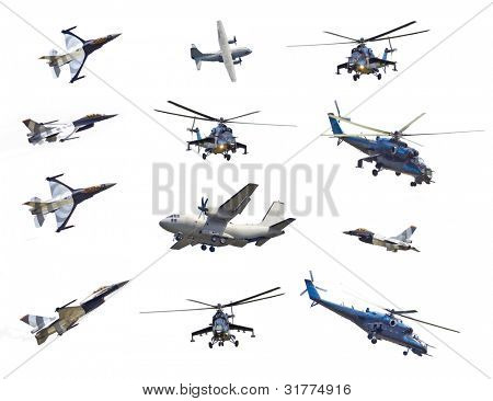 Collection with army planes on white background. Hercules, Apache, F-16.