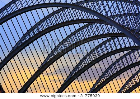 Metallic Structure Projected On The Sky At Sunset