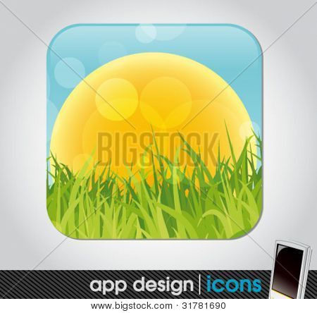 field with sun and grass - eco app icon for mobile devices