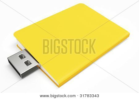 3D Yellow Usb Folder Concept