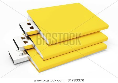 3D Yellow Usb Folders Concept