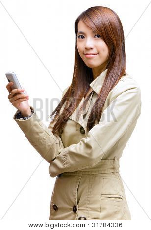 asian young woman using mobile phone message