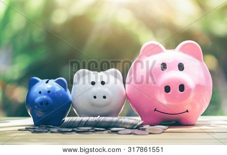 poster of Coin With Piggy Bank, Three Pigs Placed On A Wooden Table, Concept Of Saving Or Investment. Planning