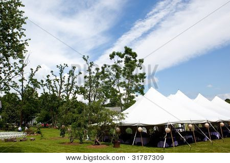 Wedding tent set up for an outdoor wedding or other catered event