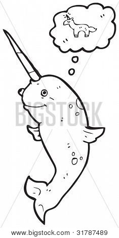 cartoon narwhal dreaming of a unicorn