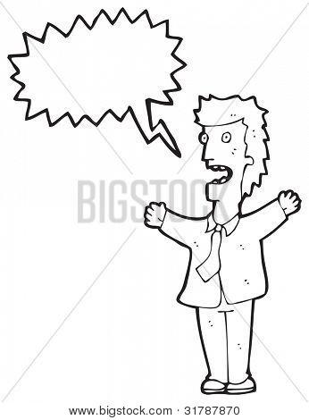 cartoon shouting businessman