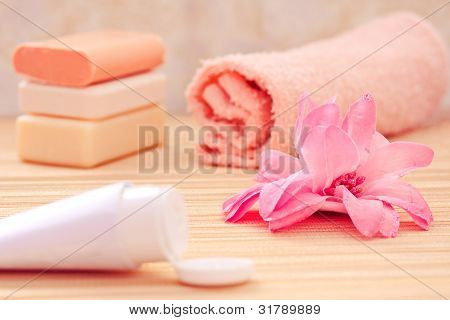 Daily Spa Objects, Towel, Soaps, Lotion, Flower