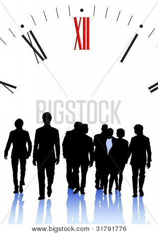 graphic group of businessmen on background of clock
