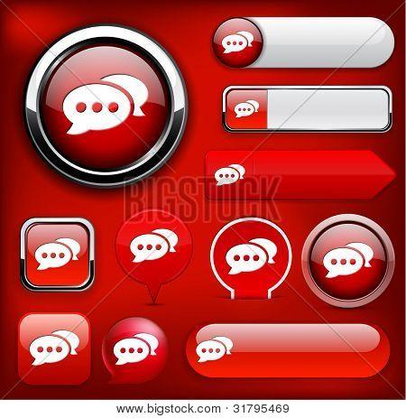 Forum red design elements for website or app. Vector eps10.
