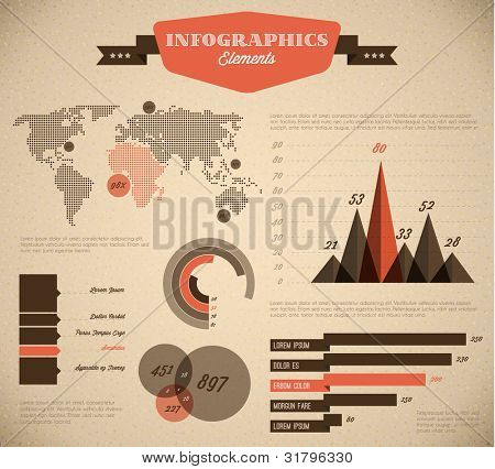 Brown and red Vector  retro / vintage set of Infographic elements for your documents and reports