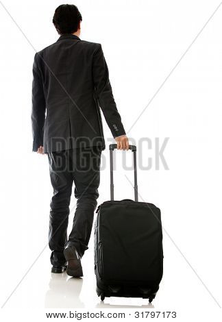 Man going on a business trip walking with bag - isolated