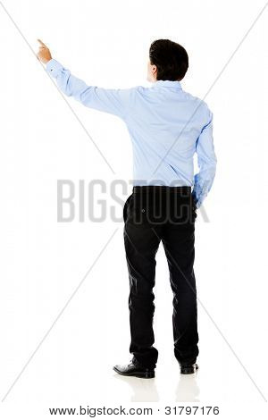 Business man pointing with finger - isolated over a white background