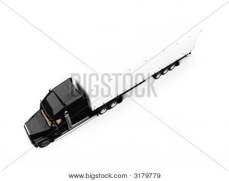 Black Semi Truck On White Background