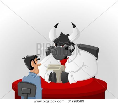 Cartoon man with his angry bull boss in office