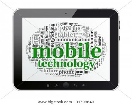 Digital tablet with mobile technology tag cloud concept on screen